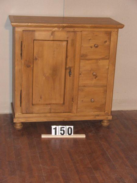 Méretek:100x100,5x44,5 Régi fenyő kis szekrény,fiókos szekrény,kenyeres,méh viaszolt