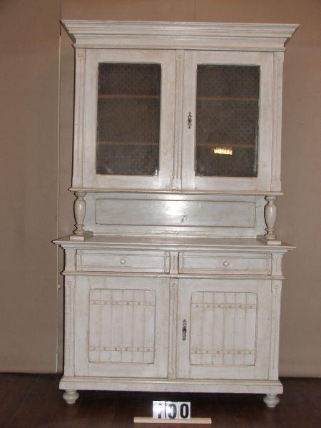 Méretek:132x215x60 Régi fenyő konyhaszekrény,tálaló szekrény,méh viaszolt,festett,antikolt