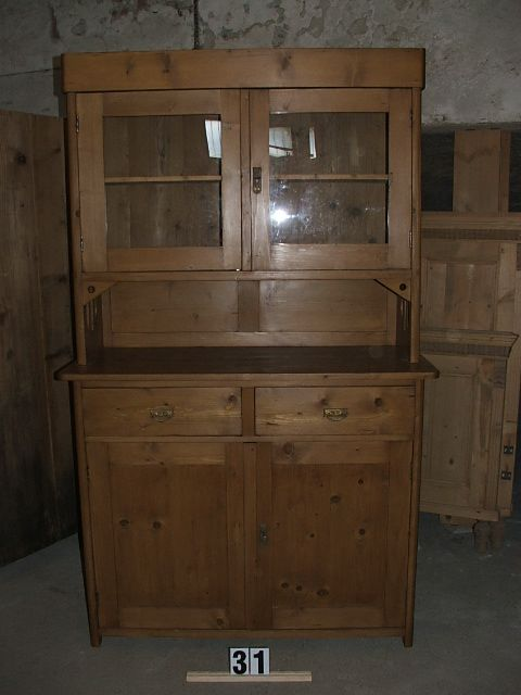Méretek:120x198x53 Régi fenyő konyhaszekrény,fiókos szekrény,tálaló,méh viaszolt