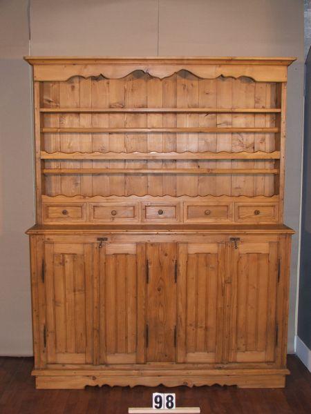 Méretek:163x02x45 Régi fenyő szekrény,fiókos szekrény,tányértartó,tálaló,méh viaszolt